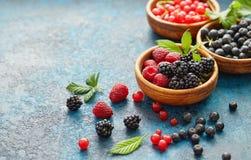 Смешивание свежих ягод с листьями на текстурированной предпосылке металла Стоковое фото RF