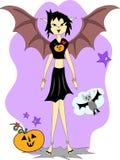 смешивание halloween девушки летучей мыши Стоковая Фотография