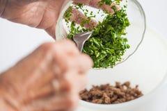 Смешивать ингридиенты для того чтобы подготовить kibbeh заполняя в шар Стоковые Изображения RF