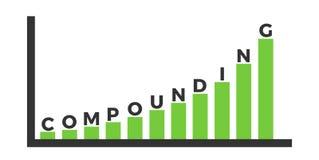 Смешивать и композиционный процент - долгосрочные инвестиции с растя значением и ценой иллюстрация штока