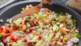 Смешивая овощи на лотке Стоковая Фотография