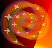 Смешивая яркое оранжевое spirale с маленькими звездами Отважный элемент дизайна авангарда соответствует хорошо с черной предпосыл Стоковое фото RF