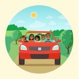 Смешная афро американская семья управляя в красном автомобиле на празднике выходных иллюстрация вектора