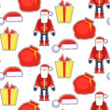 Смешная безшовная картина с красным Санта Клаусом, шляпой, подарком, сумкой Vec Стоковая Фотография