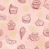 Смешная безшовная картина с круассаном торта кофе мороженого вектор Стоковая Фотография