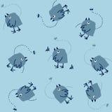 Смешная безшовная картина с мечтать птицы и Dragonfly бесплатная иллюстрация