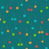 Смешная безшовная картина с различными покрашенными вишнями иллюстрация штока