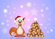 Смешная белка на рождестве Стоковые Изображения