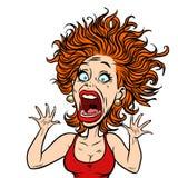 Смешная вспугнутая женщина иллюстрация вектора
