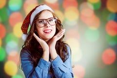 Смешная девушка битника в супер eyeglasses размера Стоковая Фотография