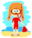 Смешная девушка в купальнике и маске Стоковая Фотография RF