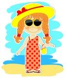 Смешная девушка в платье и с большой шляпой Стоковое фото RF