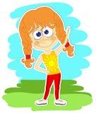 Смешная девушка делает гимнастические тренировки Стоковое Изображение RF