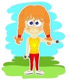 Смешная девушка делает гимнастические тренировки Стоковое фото RF
