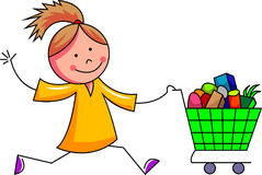 Смешная девушка, который побежали с магазинной тележкаой Стоковая Фотография