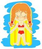 Смешная девушка принимает sunbaths Стоковые Изображения