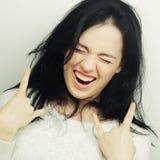 Смешная женщина делая знак руки Стоковое Изображение