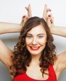 Смешная женщина делая знак руки Стоковое Фото