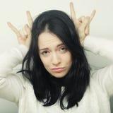 Смешная женщина делая знак руки Стоковая Фотография RF