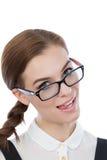 Смешная женщина с стеклами Стоковая Фотография