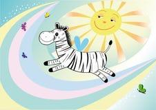 смешная зебра летая Стоковое Изображение RF