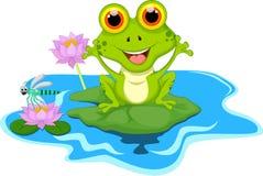 Смешная зеленая лягушка сидя на лист Стоковые Изображения