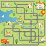 Смешная игра лабиринта: Водитель поставки находит гостиница в этом малом городе Стоковое Изображение RF