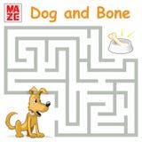Смешная игра лабиринта: Собака шаржа находит косточка Стоковые Фотографии RF