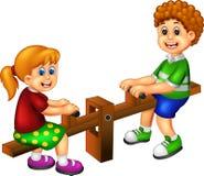 Смешная игра шаржа детей видит пилу с усмехаясь счастьем иллюстрация вектора