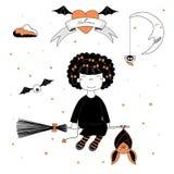 Смешная иллюстрация ведьмы и летучей мыши бесплатная иллюстрация
