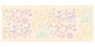 Смешная иллюстрация вектора кота Художественное произведение нарисованное рукой стоковые изображения