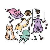 Смешная иллюстрация вектора кота Художественное произведение нарисованное рукой стоковая фотография