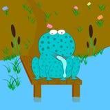 Смешная иллюстрация вектора мультфильма лягушки бесплатная иллюстрация