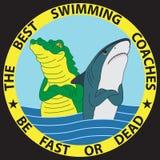 Смешная иллюстрация акулы и крокодила Стоковые Фотографии RF