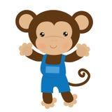Смешная иллюстрация вектора обезьяны Стоковые Изображения