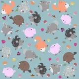 Смешная картина с животными, ягодами и грибами Стоковое Изображение RF