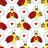 Смешная картина с цветками, сердцами, ladybug и кругом Стоковая Фотография