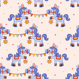 Смешная картина цирка с лошадями Стоковое фото RF