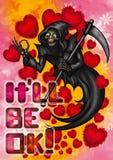 Смешная карточка валентинки хеллоуина Стоковое фото RF