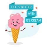 Смешная карточка с мороженым Стоковые Фото
