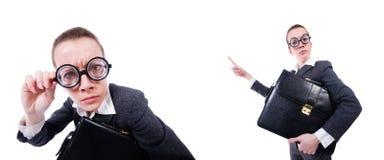 Смешная коммерсантка изолированная на белизне Стоковые Изображения