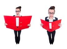 Смешная коммерсантка с красной папкой на белизне Стоковая Фотография