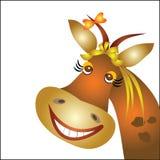 Смешная корова с смычком Стоковые Фотографии RF