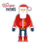 Смешная красная заплата Санта Клауса вектор Поздравительная открытка или плакат рождества Элемент дизайна для приветствий Стоковые Фотографии RF
