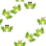 Смешная лягушка мультфильма - безшовная картина Предпосылка, ткань, фон, оболочка, ткань иллюстрация штока