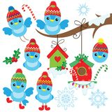 Смешная маленькая голубая птица рождества в шляпе стоковая фотография rf