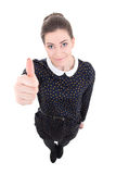 Смешная молодая красивая бизнес-леди в черных больших пальцах руки платья вверх Стоковая Фотография