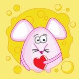 Смешная мышь с валентинкой внутри сыра Стоковая Фотография