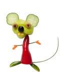 Смешная мышь сделанная из перца и огурца Стоковое фото RF