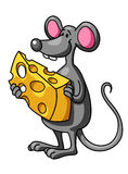 Смешная мышь шаржа с сыром Стоковые Изображения